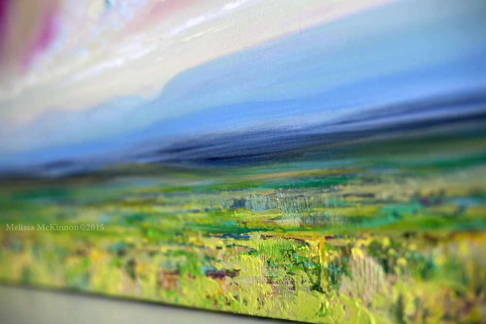Colourful Contemporary Art Mountain Sky Ocean Prairie Abstract Landscape Painting By Canadian