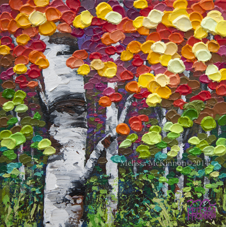 Colourful Contemporary Abstract Fall Aspen Birch Tree