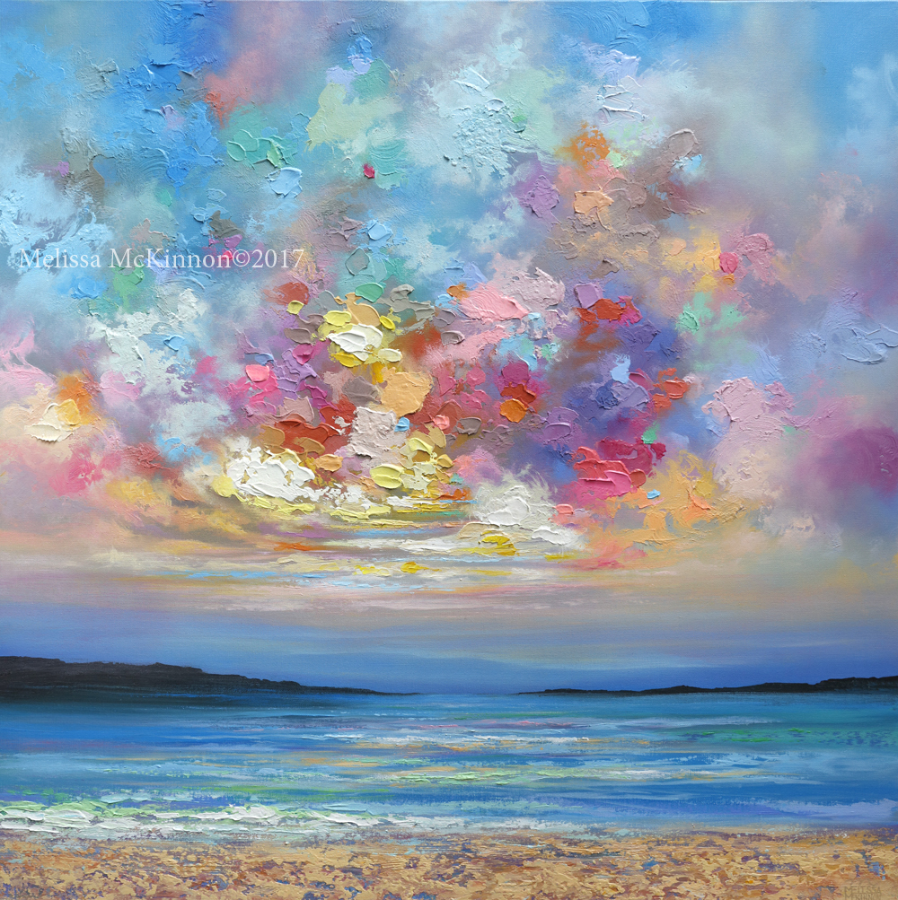 Beautiful ocean beach and sunset sky with clouds landscape painting art by contemporary artist painter melissa mckinnon colourbration