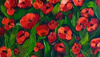 How to paint poppy flowers with acrylic paint and a palette knife field of red 20x30 original acrylic painting field of mightylinksfo