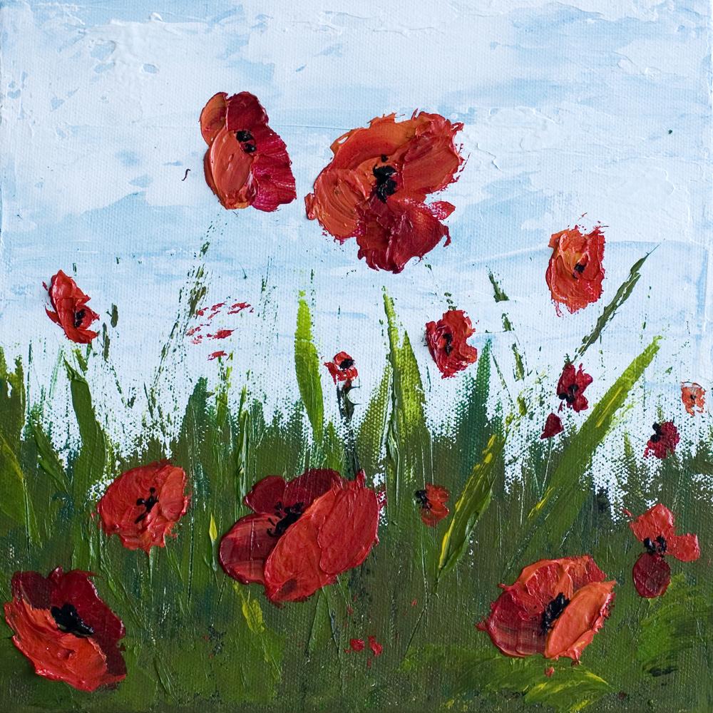 Freedom 10 X 10 Poppy Field Acrylic Painting On Canvas Melissa