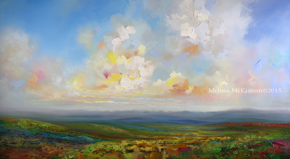 """SOLD """"Head In the Clouds"""" Abstract Landscape Painting from ..."""