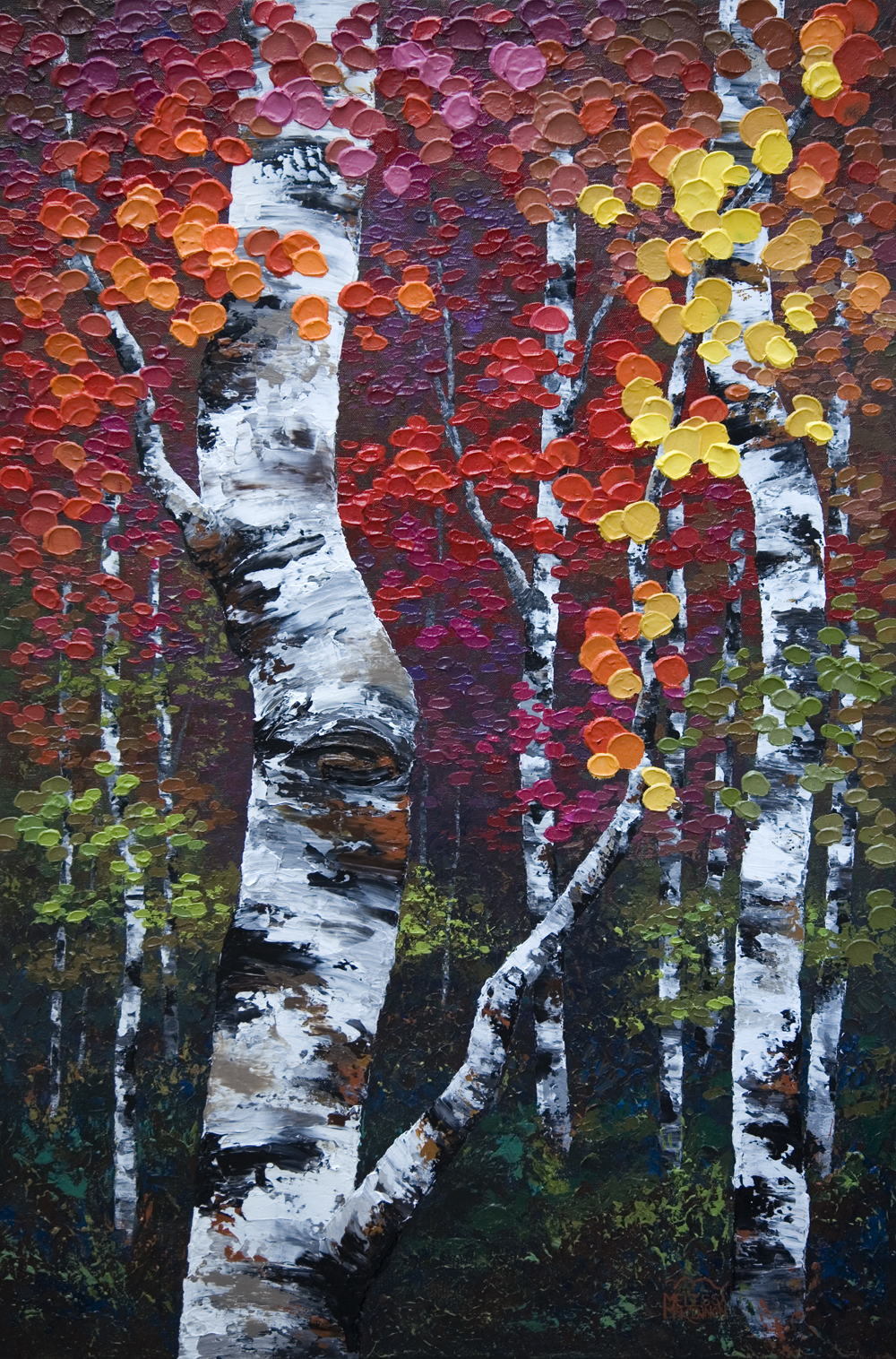 In This Moment 24x36 Original Acrylic Aspen Birch Tree Painting On Canvas By Calgary Contemporary Landscape Artist Melissa McKinnon