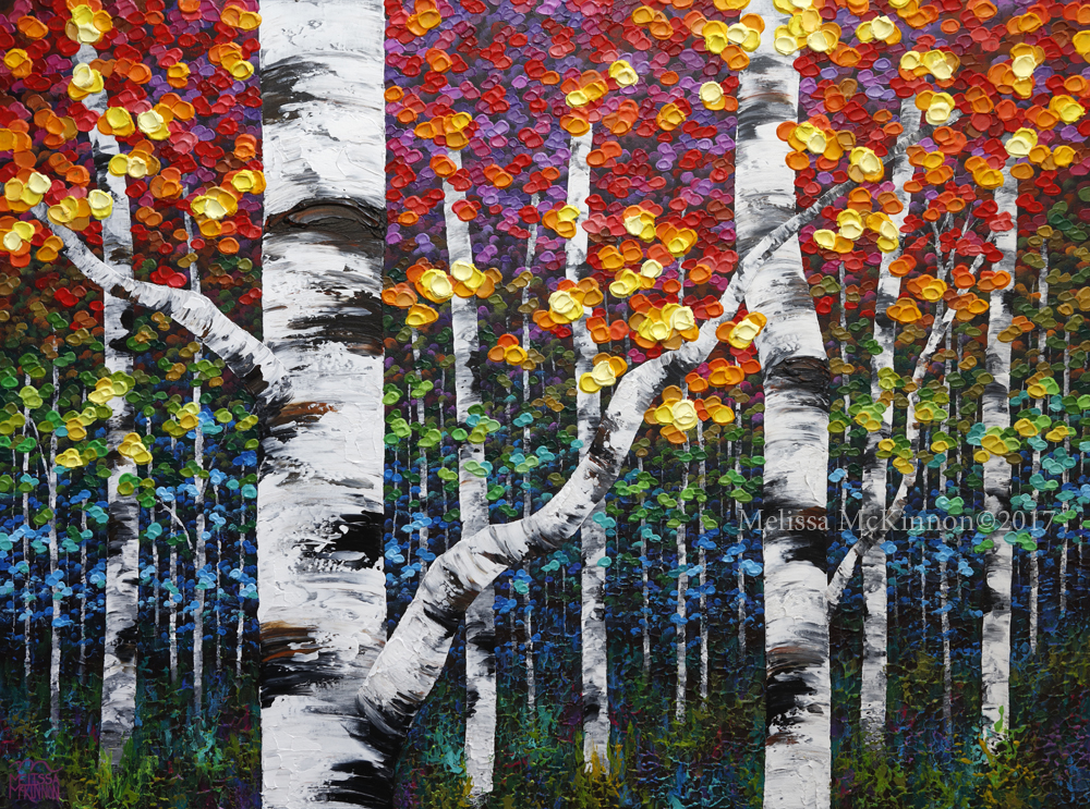 Beautiful aspen trees and birch trees art painting by contemporary ...