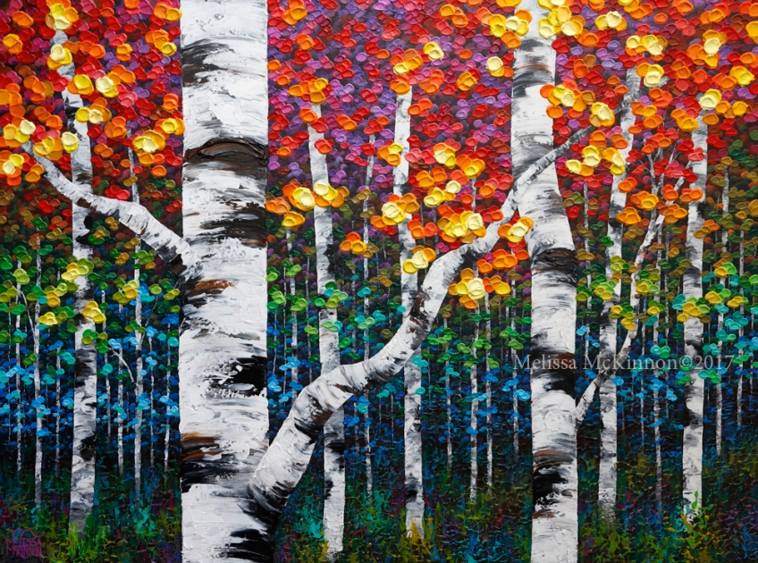 Beautiful Aspen Trees And Birch Trees Art Painting By
