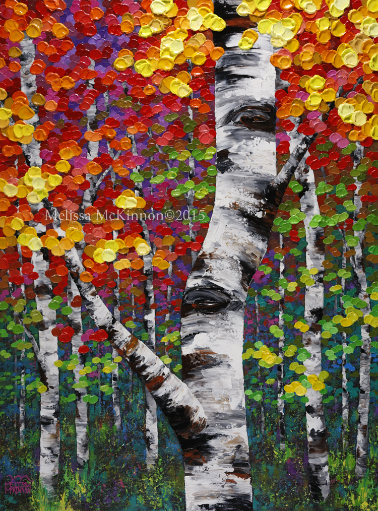 Sold quiet autumn 30 x40 colourful fall birch and aspen for Autumn tree painting