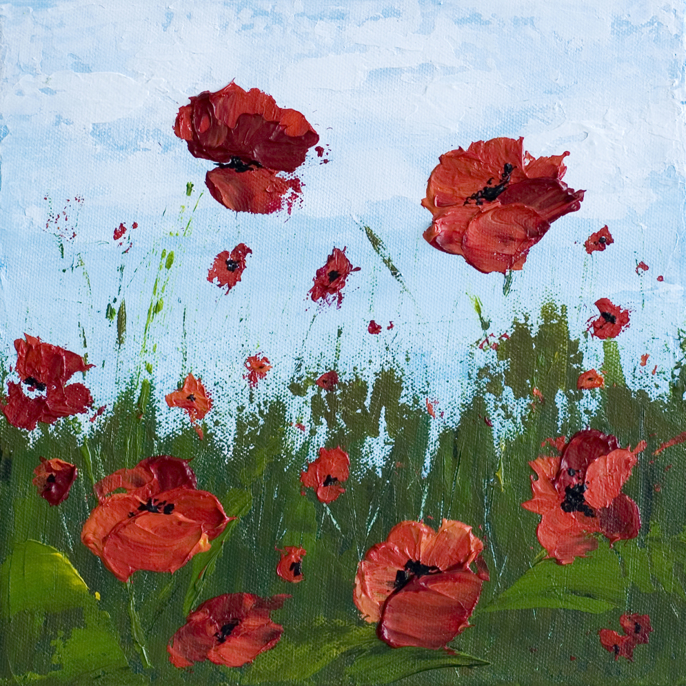 Remember Me 10 X 10 Poppy Field Acrylic Painting On Canvas