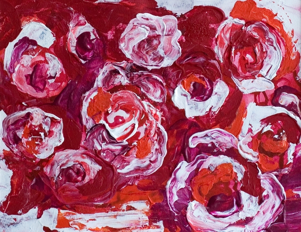 """Splendor"" 11x14 Abstract Flowers - Original Mixed Media Floral Painting on archival paper"