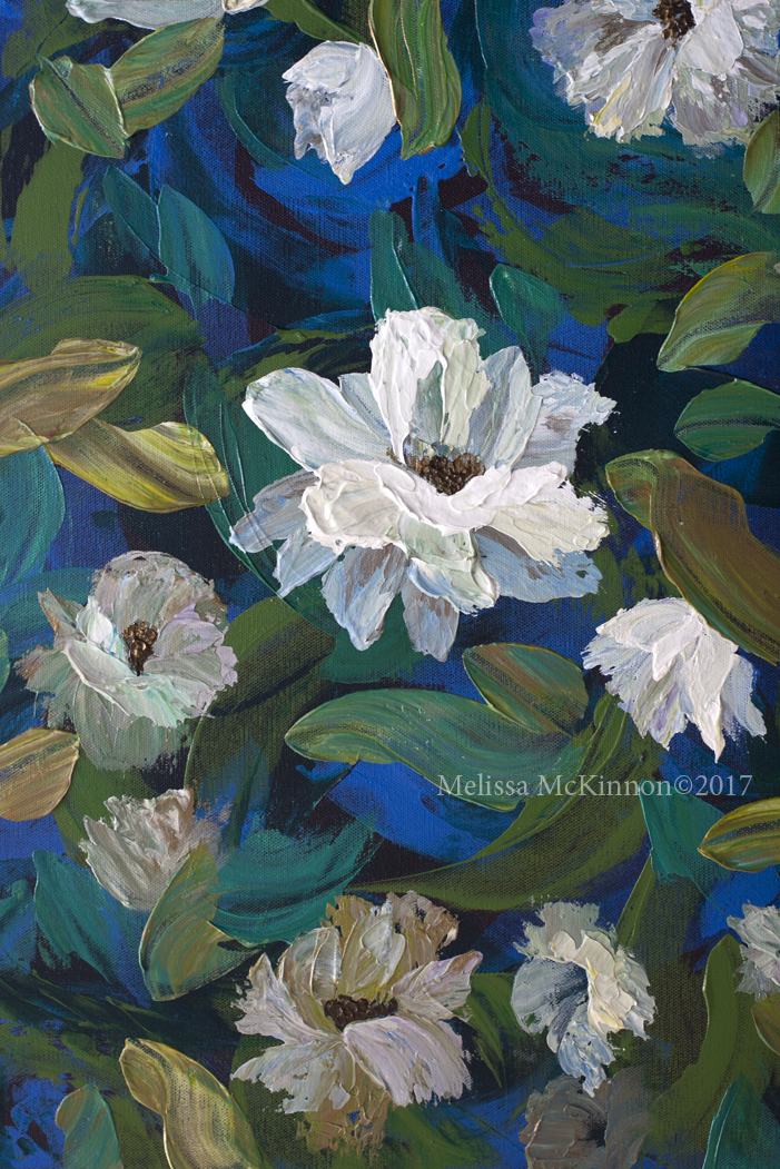 Beautiful White Flower Painting And Floral Art By Contemporary