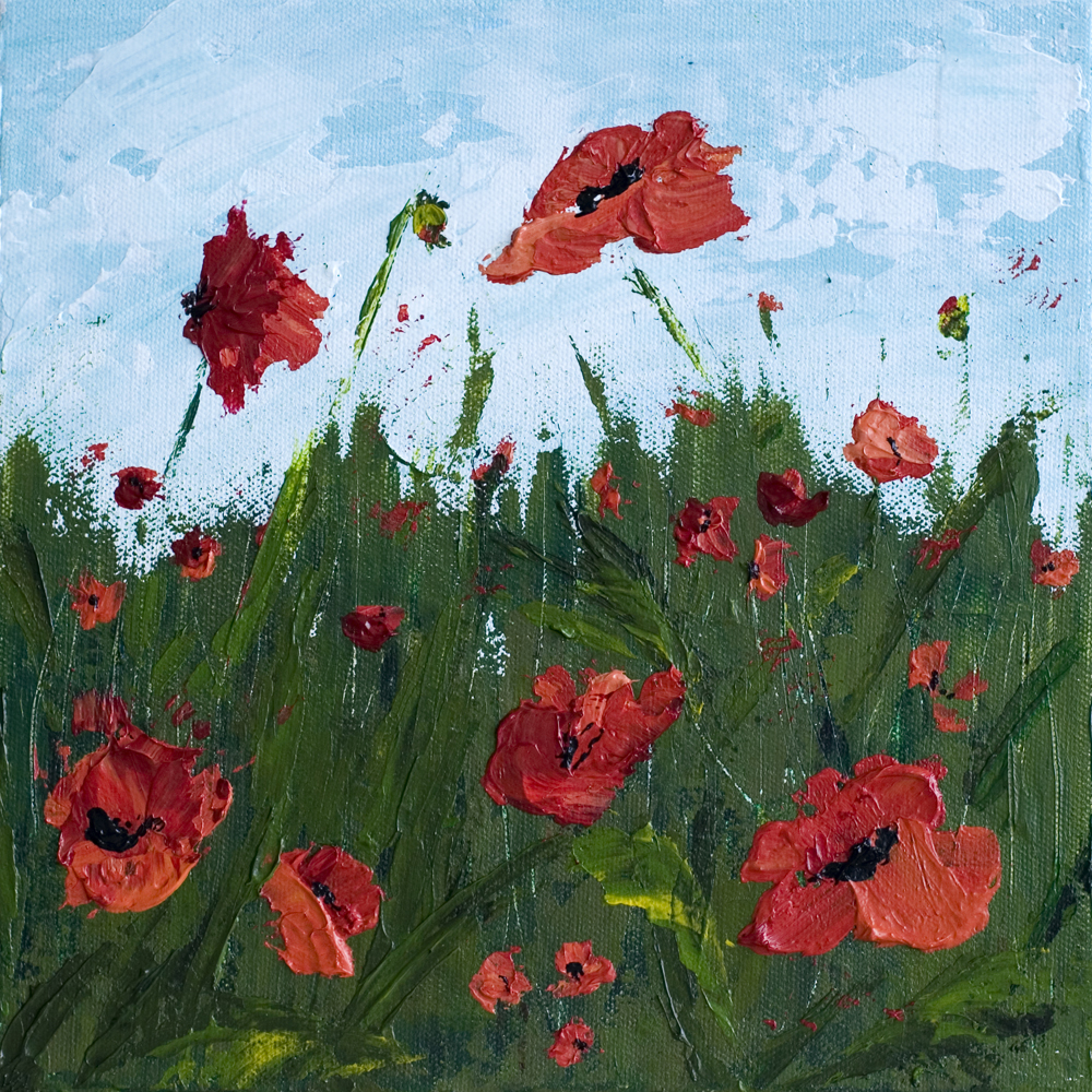 Brave 10 X 10 Poppy Field Acrylic Painting On Canvas