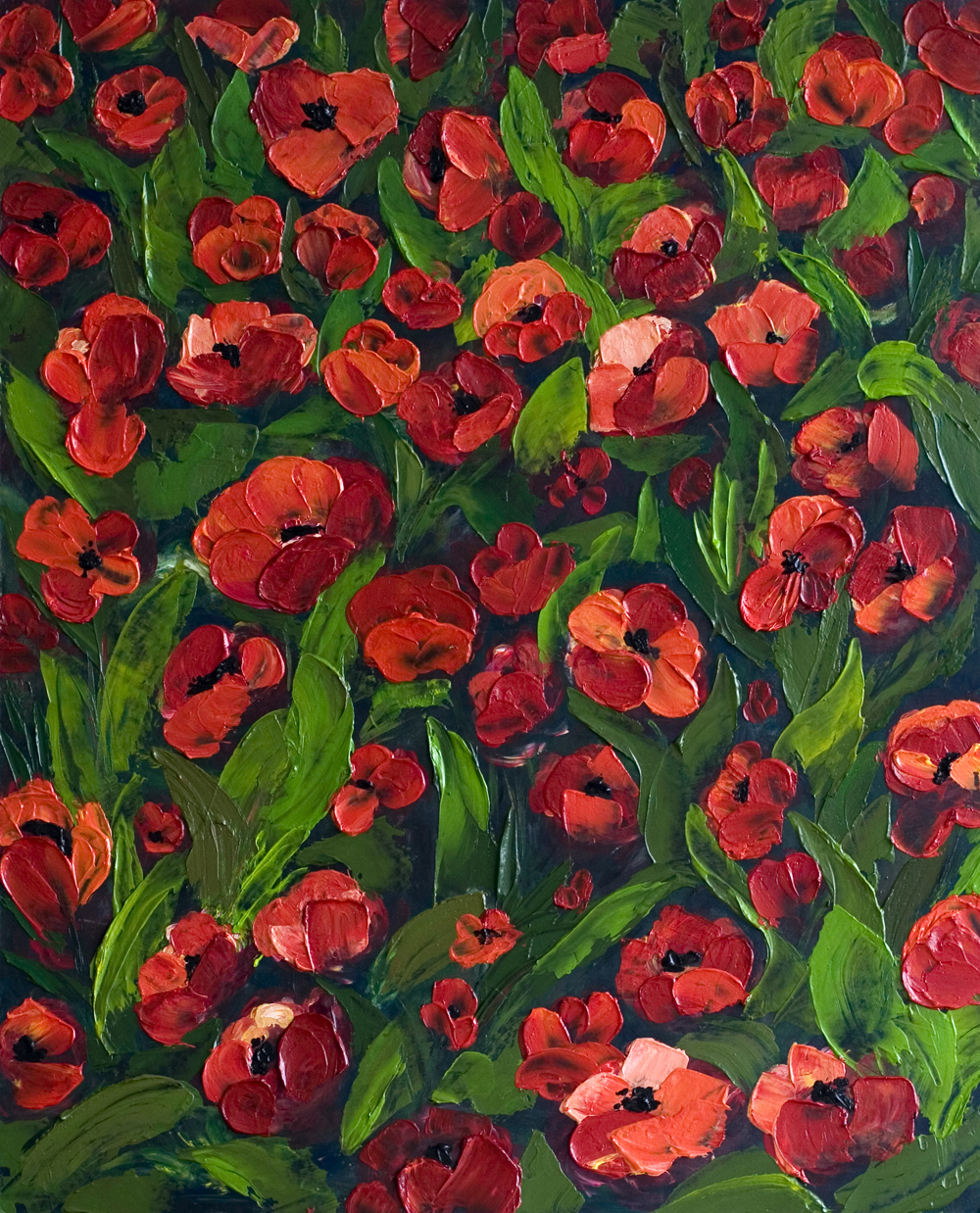 Field of red poppy field acrylic painting on board for Floral acrylic paintings