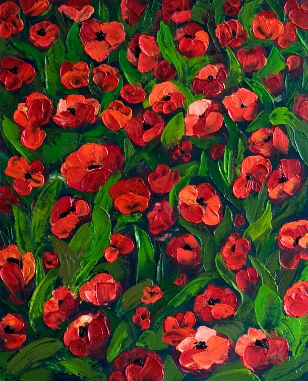 """Field of Red"" Poppy Field - Acrylic Painting on Board $395"