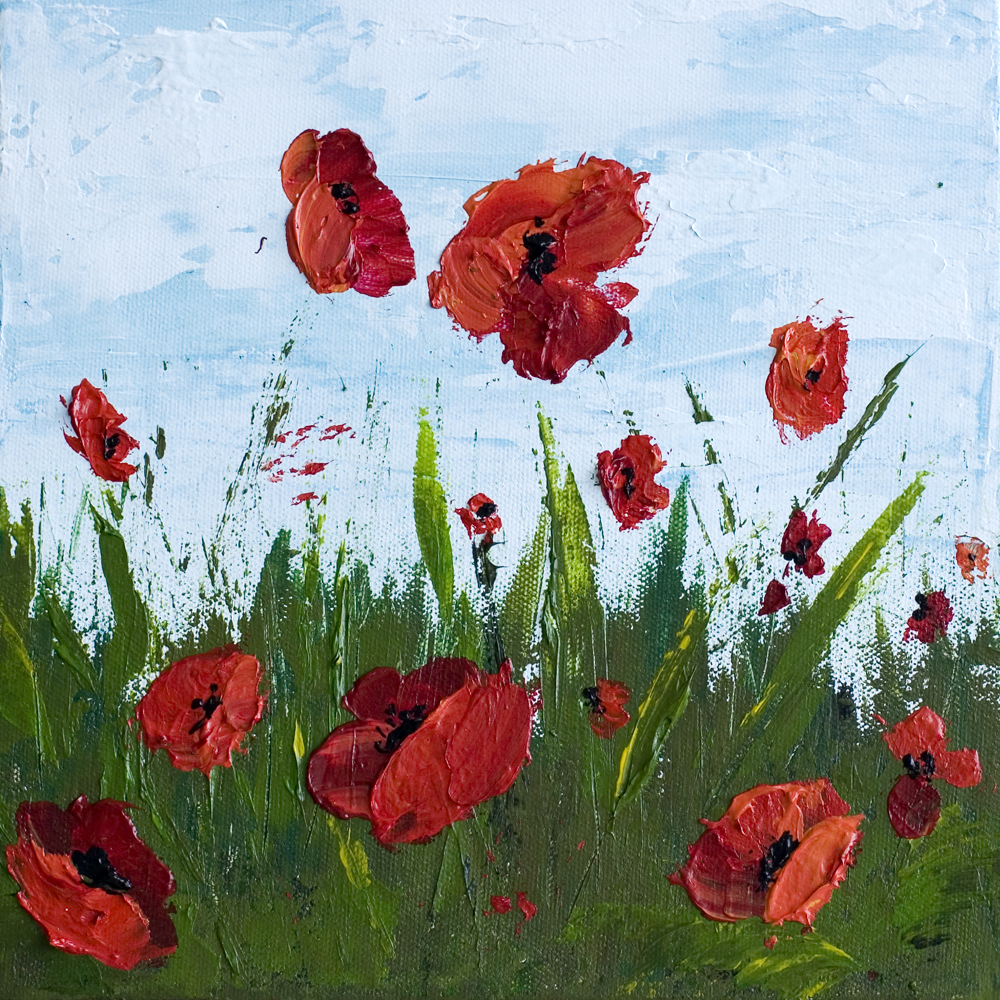 remember me poppy field series acrylic paintings