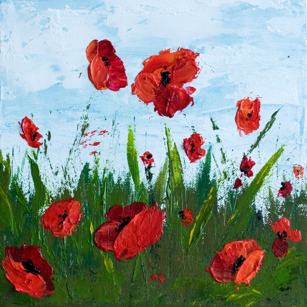 """Freedom"" 10 x 10 Poppy Field - Acrylic Painting on Canvas"