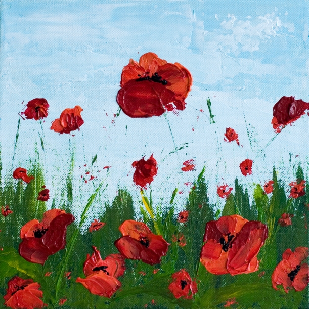 """Gratitude"" 10 x 10 Poppy Field - Acrylic Painting on Canvas"