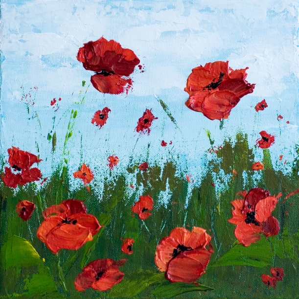 """Remember Me"" 10 x 10 Poppy Field - Acrylic Painting on Canvas"