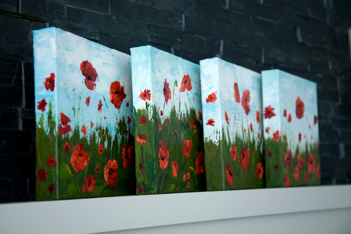 Series of red poppy flower acrylic paintings melissa for Painting flowers in acrylic step by step