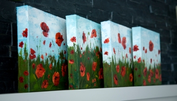 Remember Me Series Of 4 Red Poppy Flower Paintings By Canadian Contemporary Artist Melissa McKinnon