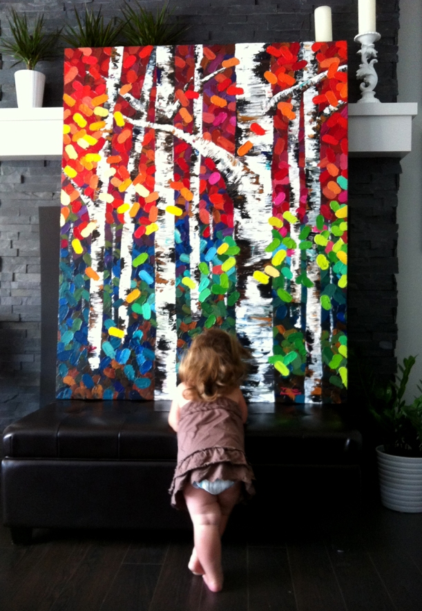 "My little girl admiring my big birch tree painting titled, ""Tonight I Dream In Color"""