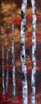 Original Acrylic Autumn Aspen / Birch Tree Painting on Canvas by Canadian Artist Melissa McKinnon, close-up of fall color, leaves, tree trunk and texture.