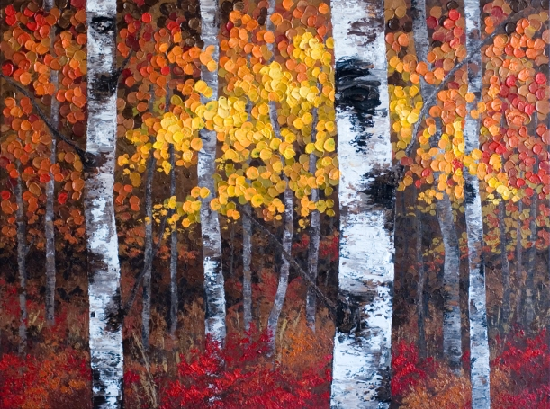 """A Night To Remember"" 48 x 36 Original Acrylic Aspen / Birch Tree Painting on Canvas"