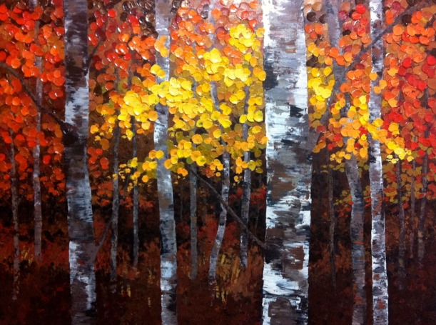 "Work In Progress ""A Night To Remember"" 48 x 36 Aspen / Birch Tree Acrylic Painting on Canvas"