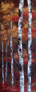"""Autumn Gold"" Original Acrylic Autumn Aspen / Birch Tree Painting on Canvas by Canadian Artist Melissa McKinnon, close-up of fall color, leaves, tree trunk and texture."