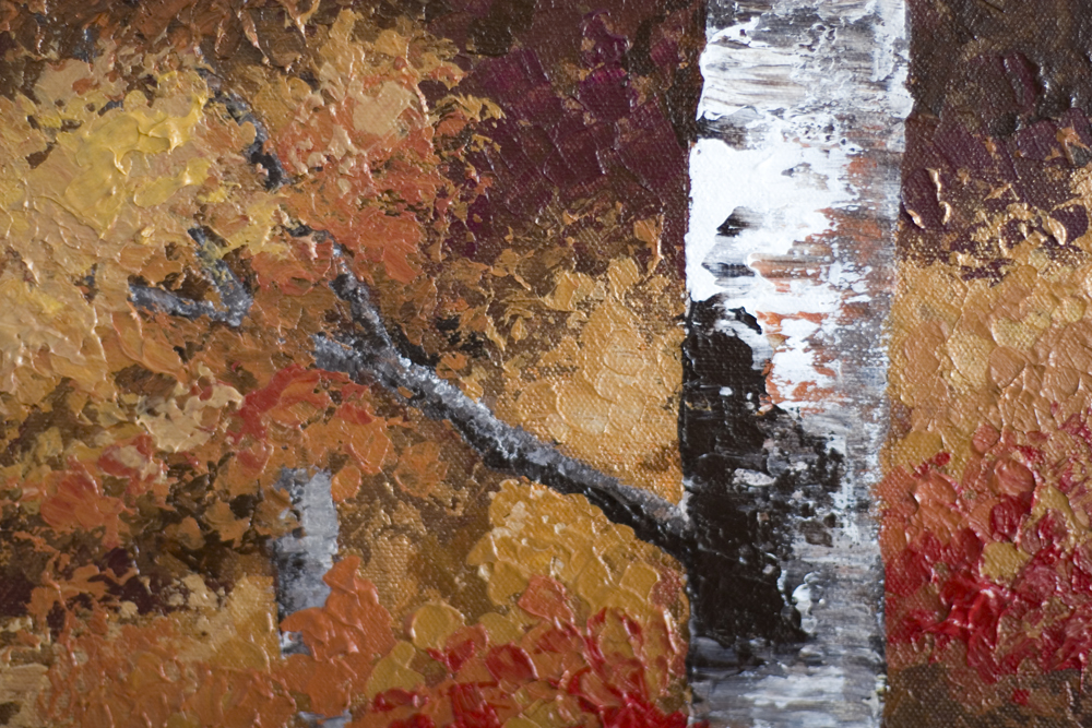 Autumn Gold Close up detail of texture Acrylic Painting on Canvas