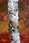 Autumn Aspen Birch Tree Painting close-up of fall color, leaves, tree trunk and texture