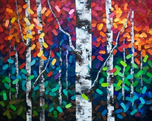 Aspen tree painting, aspen trees, birch tree painting, birch trees, Calgary artist, Canadian artist, autumn trees, colorful painting, bright colors, red, orange, yellow, aqua, blue, turquoise, purple, green brown, black, white, thick texture painting, Calgary, Alberta, Canada, contemporary, modern, abstract.