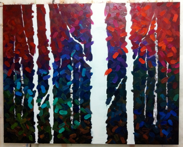 Original Acrylic Aspen / Birch Tree Forest Painting by Melissa McKinnon, bright, colorful painting, red, purple, green, turquoise, fall colors.