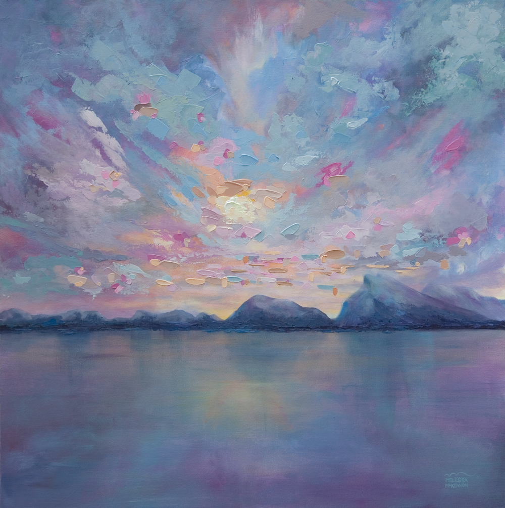 Rundle Sky 36 215 36 Original Acrylic Landscape Painting On Canvas By Contemporary Canadian Artist