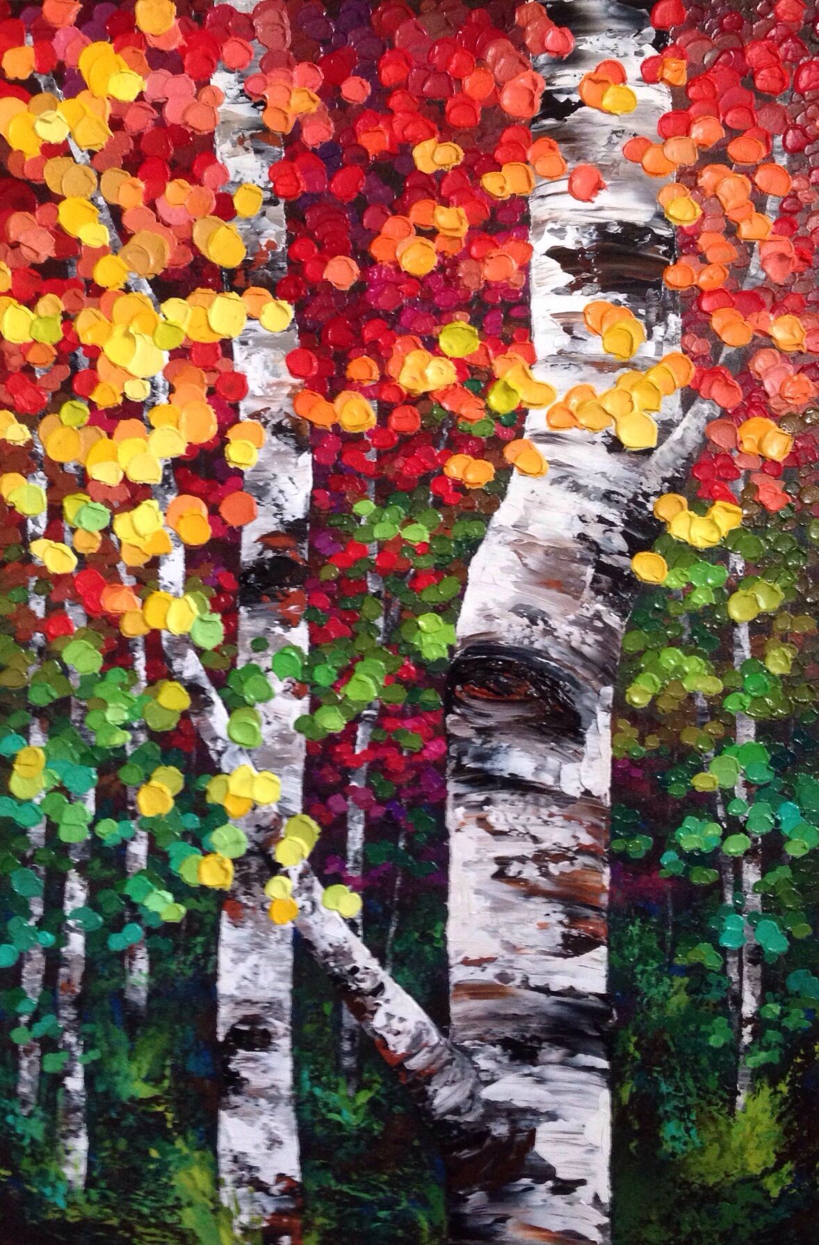 Colourful Aspen Birch Tree and Autumn Leaves Painting On