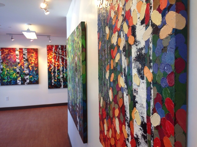 Calgary Art Gallery, Painting exhibition, solo art exhibition, beach paintings, abstract beach paintings, Mountain paintings, ocean and rocks painting, paintings of skies mountains water ocean sand, Things to do in calgary,Art Events in CalgaryAbstract landscape paintings, Colourful abstract painting, Abstract tree painting, Colourful tree painting, Blue painting, red painting, green and aqua painting, autumn tree painting, autumn landscape paintings, trees in autumn, fall trees and autumn leaves painting. Landscape paintings, acrylic paintings, abstract acrylic painting, birch tree paintings, birch trees, aspen trees, aspen tree forest, birch tree forest, birches, aspens, oil landscape paintings, abstract oil paintings, tree paintings, aspen tree paintings, mountain paintings, Canadian Rocky mountains, Paintings of the Canadian landscape, contemporary landscape painting, contemporary landscape artist, contemporary art, modern painting, aspen artist, Melissa Mckinnon. Calgary art gallery, Contemporary Art Gallery Canada, paintings for sale, Aspen paintings, Aspen art, Aspen tree forest painting, Autumn Aspen trees, Aspen forest, Aspen landscape, Aspen Colorado, Autumn, Autumn Aspens, Autumn birches, Aspens, Autumn leaves, birch art, landscape painting commission, fine art, Aspen fine art, bright colour painting, colourful painting, colourful tree painting, Autumn colors, spring colors, thick texture painting, impasto landscape painting, Calgary Art Galleries.