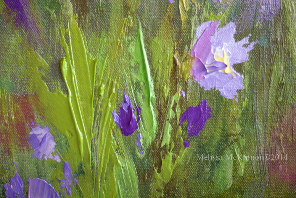Colourful Flower Prairie And Big Sky Abstract Landscape Painting By Canadian Western Artist