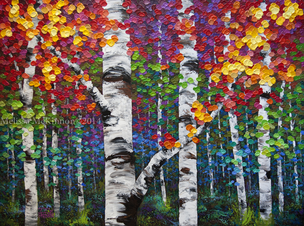 Colourful Autumn Birch Aspen Tree Abstract Landscape