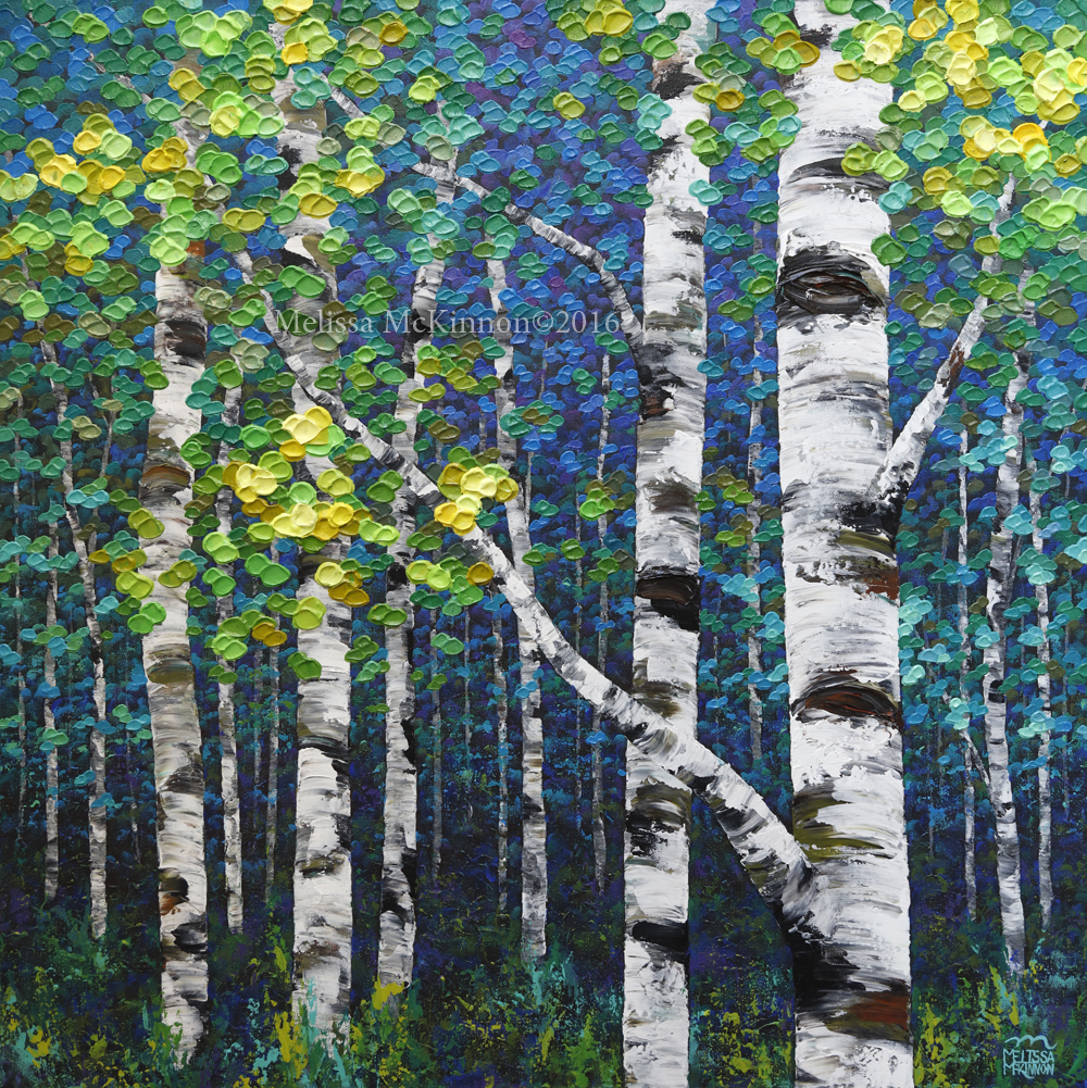 New Painting Colourful Spring Forest Birch And Aspen Tree