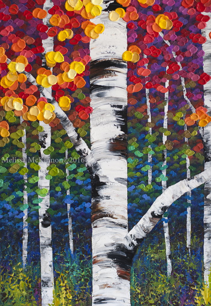 new colourful aspen and birch tree forest painting by