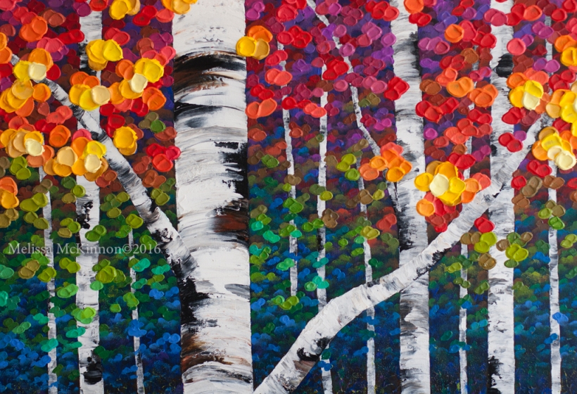 7 Inspiring Kid Room Color Options For Your Little Ones: NEW Colourful Aspen And Birch Tree Forest Painting By