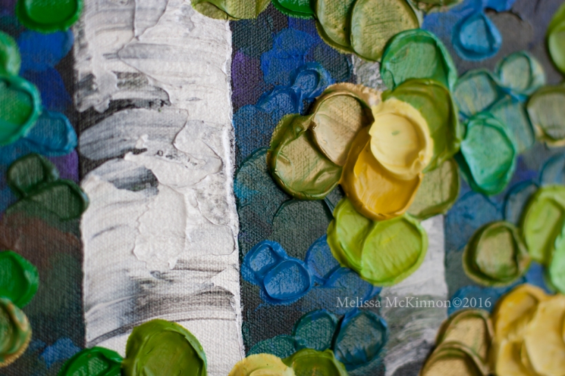 NEW PAINTING – Colourful Spring Birch and Aspen Tree Art by