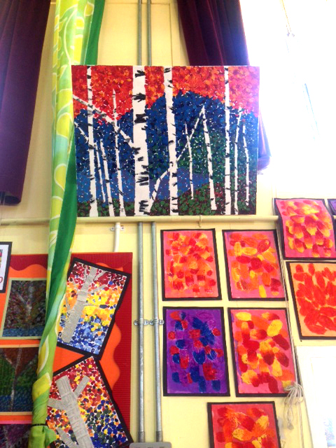 Aspen and birch tree paintings by 8 & 9 year old students in Canterbury, Kent, England inspired by Melissa McKinnon