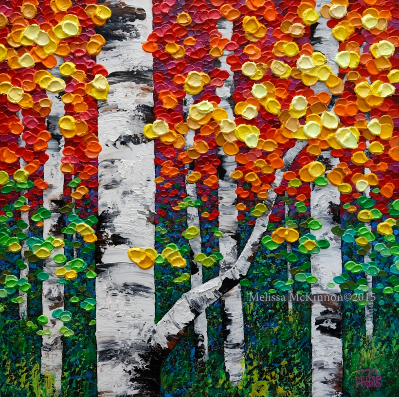 new artwork colourful acrylic painting of fall aspen and
