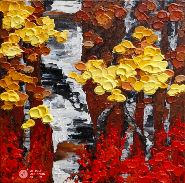 Art painting of aspen trees and birch trees in autumn by contemporary abstract landscape artist painter Melissa McKinnon; tree paintings; tree art; paintings of trees; treescape;  tree of life painting; tree paintings on canvas; birch tree art; birch tree paintings; birch tree canvas; paintings of birch trees; aspen tree art; aspen tree paintings; fall painting; autumn painting; autumn art; fall art; landscape painting; landscape art; landscape artists; abstract landscape painting; abstract landscape; contemporary art; modern art paintings; scenery paintings; paintings of nature; nature paintings; nature art; landscape oil paintings; landscape acrylic paintings; original art; original paintings; oil paintings; acrylic paintings; paintings gallery; canvas painting; beautiful landscape paintings; western art;  western paintings; modern artist paintings; art gallery; Contemporary Artist;  contemporary painting;  original art; original paintings; oil paintings; oil paintings for sale; acrylic paintings;  paintings with texture; impasto painting;  Canadian artist; Canadian art; Canadian paintings; American artist; American artist; American paintings;  large paintings; big paintings; large canvas paintings; large wall paintings; contemporary landscape painting; Contemporary painting; colourful painting; paintings for sale; canvas wall art; wall art canvas; canvas art; wall art decor; bedroom wall decor; bathroom wall decor; living room wall decor; kitchen wall decor; interiors; interior decorating; interior design; interior designer; home decor ideas; interior design ideas; living room ideas; home interior design; house decoration; Melissa McKinnon art; Melissa McKinnon paintings; Melissa McKinnon art.