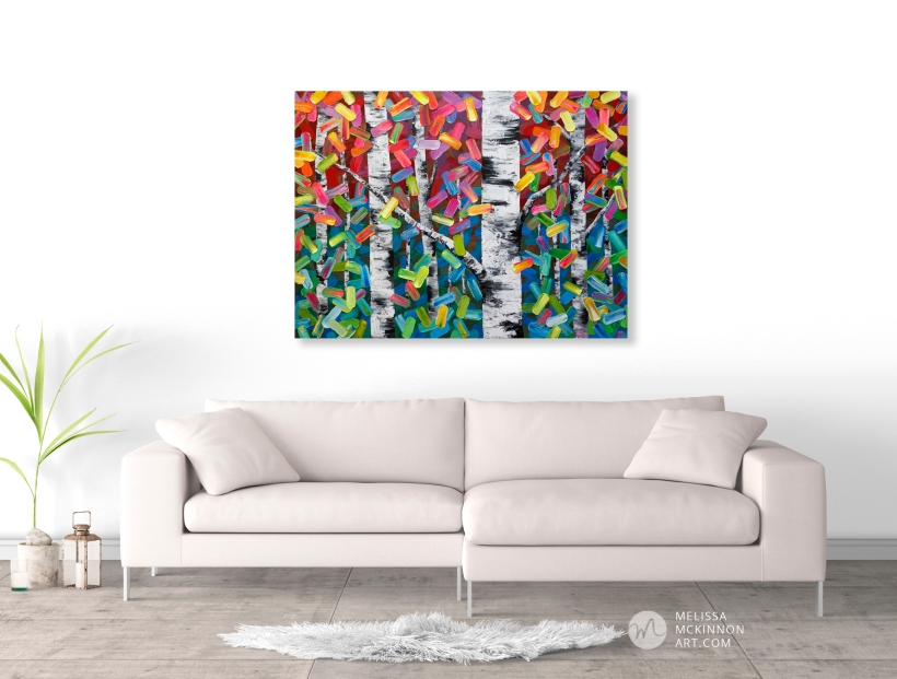 Fine art painting of aspen trees and birch trees in autumn forest by Canadian contemporary abstract landscape artist painter Melissa McKinnon; Fine art paintings of trees, paintings of aspen trees, Paintings of birch trees, paintings of landscapes, paintings of landscape and trees, tree paintings; tree art; paintings of trees; treescape; tree of life painting; tree paintings on canvas; birch tree art; birch tree paintings; birch tree canvas; paintings of birch trees; aspen tree art; aspen tree paintings; fall painting; autumn painting; colorful paintings of trees, autumn art; fall art; landscape painting; landscape art; landscape artists; abstract landscape painting; abstract landscape; contemporary art; modern art paintings; scenery paintings; paintings of nature; nature paintings; nature art; landscape oil paintings; landscape acrylic paintings; original art; original paintings; oil paintings; acrylic paintings; paintings gallery; canvas painting; beautiful landscape paintings; western art; western paintings; modern artist paintings; art gallery; Contemporary Artist; contemporary painting; original art; original paintings; oil paintings; oil paintings for sale; acrylic paintings; paintings with texture; impasto painting; Canadian artist; Canadian art; Canadian paintings; American artist; American artist; American paintings; large paintings; big paintings; large canvas paintings; large wall paintings; contemporary landscape painting; Contemporary painting; colourful painting; paintings for sale; canvas wall art; wall art canvas; canvas art; wall art decor; bedroom wall decor; bathroom wall decor; living room wall decor; kitchen wall decor; interiors; interior decorating; interior design; interior designer; home decor ideas; interior design ideas; living room ideas; home interior design; house decoration; Melissa McKinnon art; Melissa McKinnon paintings; Melissa McKinnon art. tree paintings; tree art; paintings of trees; treescape; tree of life painting; tree painti