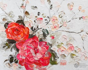 Fine art floral painting on canvas of roses peony and cherry blossom flower bouquet giclee art print by contemporary abstract botanical artist painter Melissa McKinnon painted with palette knife and impasto texture title 'Among the Cherry Blossoms I'