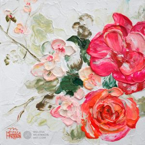 Fine art floral painting on canvas of roses peony and cherry blossom flower bouquet giclee art print by contemporary abstract botanical artist painter Melissa McKinnon painted with palette knife and impasto texture title 'Among the Cherry Blossoms II'