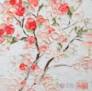 Fine art floral painting on canvas of roses peony and cherry blossom flower bouquet giclee art print by contemporary abstract botanical artist painter Melissa McKinnon painted with palette knife and impasto texture title 'Among the Cherry Blossoms III'