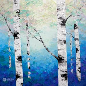Ethereal blue forest landscape painting of aspen trees and birch trees in sunlight Giclee art print on canvas by contemporary abstract landscape artist Melissa McKinnon painted with palette knife and impasto texture.