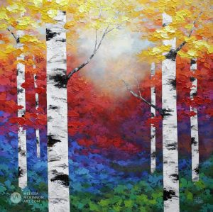 Colorful autumn forest landscape painting of aspen trees and birch trees in the fall Giclee art print on canvas by contemporary abstract landscape artist Melissa McKinnon painted with palette knife and impasto texture.