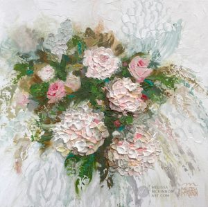 Fine art painting of florals white hydrangeas and pink roses flower bouquet by Canadian artist painter Melissa McKinnon title Heather's Flowers
